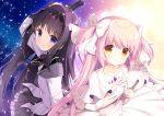 2girls akemi_homura arm_up choker dress eyebrows_visible_through_hair from_above gloves goddess_madoka gun hair_ribbon highres holding_hands ikataruto kaname_madoka light looking_at_viewer looking_to_the_side magical_girl mahou_shoujo_madoka_magica multiple_girls own_hands_clasped own_hands_together pink_eyes pink_hair purple_hair ribbon space twintails two_side_up upper_body weapon white_choker white_dress white_gloves yellow_eyes