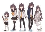 1girl 4boys artist_self-insert clothing_cutout himuhino jacket long_hair messy_hair multiple_boys multiple_persona necktie older original pale_skin sandals shoes shorts single_shoe younger zombie