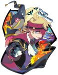 1boy ascot banette blonde_hair blue_eyes buttons cape closed_mouth commentary_request gloves happy_halloween headband highres long_sleeves male_focus mega_banette mega_pokemon mitsu_(mitu_328) morty_(pokemon) official_alternate_costume pikachu pokemon pokemon_(creature) pokemon_(game) pokemon_masters_ex pumpkin purple_headband short_hair signature silk smile spider_web tongue tongue_out white_neckwear zubat