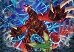 claws clouds commentary fang flygon flying from_below glowing glowing_eyes groudon highres night open_mouth outdoors pokemon pokemon_(anime) pokemon_(classic_anime) pokemon_(creature) pokemon_m04 salamence sky spikes tapioka_chaso tongue water_drop