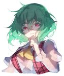 1girl ascot bangs breasts chiroru_(cheese-roll) cropped_torso english_commentary eyebrows_visible_through_hair green_hair hair_between_eyes hand_to_own_mouth juliet_sleeves kazami_yuuka large_breasts long_sleeves looking_at_viewer plaid plaid_vest puffy_sleeves red_eyes red_vest shirt short_hair simple_background solo touhou upper_body vest white_background white_shirt wrist_cuffs yellow_neckwear