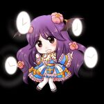 1girl :d arch_bishop_(ragnarok_online) bangs black_footwear black_wings blue_dress blush bow brown_hair chibi clock commentary_request demon_wings dress dress_bow eyebrows_visible_through_hair flower frilled_dress frilled_sleeves frills full_body hair_between_eyes hair_flower hair_ornament head_wings high_heels long_hair looking_at_viewer manoji official_alternate_costume open_mouth pink_flower purple_hair ragnarok_online sash smile solo thigh-highs two-tone_dress white_dress white_legwear wings yellow_bow yellow_sash