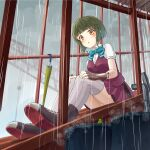 1girl blouse bob_cut boots cross-laced_footwear fingerless_gloves gloves green_hair grey_legwear kantai_collection lace-up_boots mayura2002 pleated_skirt purple_skirt rain remodel_(kantai_collection) school_uniform short_hair short_hair_with_long_locks short_sleeves sidelocks sitting skirt solo stairs takanami_(kancolle) thigh-highs vest white_blouse