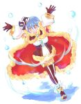 1girl :d arms_up bangs blue_hair breasts brown_cape brown_gloves brown_legwear cape commentary_request dress dutch_angle eyebrows_visible_through_hair full_body fur-trimmed_cape fur-trimmed_dress fur_trim garter_straps gloves hat looking_at_viewer manoji medium_breasts mini_hat official_alternate_costume open_mouth ragnarok_online red_cape sandals short_dress short_hair smile solo strapless strapless_dress top_hat two-sided_cape two-sided_fabric two-tone_dress two-tone_legwear warlock_(ragnarok_online) water white_background white_dress yellow_eyes