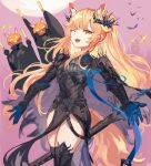 1girl 2others ambiguous_gender animal_ears arknights bat black_footwear black_gloves black_shirt blemishine_(arknights) blemishine_(moon_catastrborn)_(arknights) blonde_hair boots commentary cowboy_shot extra_ears fangs gloves hair_ornament halloween_costume highres horse_ears horse_girl horse_tail long_hair long_sleeves moon multiple_others official_alternate_costume one_eye_closed open_mouth pelvic_curtain pink_background red_eyes shirt solo_focus spacelongcat tail teeth thigh-highs thigh_boots thighs upper_teeth