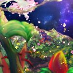 1girl bangs black_wings blurry blurry_foreground breasts bug butterfly closed_eyes commentary_request demon_wings detached_sleeves flower full_body grass hair_flower hair_ornament hand_up head_wings in-universe_location long_hair manoji medium_breasts multicolored_sleeves nidhoggr_(ragnarok_online) orange_flower orange_sleeves pink_flower purple_hair purple_sleeves ragnarok_online sitting sky solo star_(sky) starry_sky very_long_hair white_flower wings yellow_flower yellow_sleeves