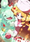 1girl absurdres bangs blonde_hair blue_eyes blurry blush caitlin_(pokemon) closed_mouth commentary_request dress eyebrows_visible_through_hair eyelashes hat highres long_hair long_sleeves looking_at_viewer parted_bangs petals pink_dress pink_headwear pokemon pokemon_(creature) pokemon_(game) pokemon_bw pon_yui reuniclus shiny shiny_hair shoes sidelocks