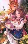 2girls ahoge animal_ears armor bag bangs between_breasts blue_skirt blurry blurry_background boots breasts brown_footwear brown_hair bug butterfly chair closed_mouth commentary_request crown ears_down fingerless_gloves flower gloves hair_flower hair_ornament high_heel_boots high_heels highres horse_ears jewelry kyuurisoda large_breasts looking_at_viewer meisho_doto_(umamusume) mini_crown multicolored_hair multiple_girls multiple_rings orange_hair petals puffy_sleeves raised_eyebrows ring rose shirt shoulder_armor shoulder_bag sitting sitting_on_table skirt smile strap_between_breasts t.m._opera_o_(umamusume) two-tone_hair umamusume v-shaped_eyebrows violet_eyes white_gloves white_legwear white_shirt