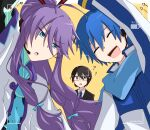 3boys ? ?? arm_up arrow_(symbol) battery_indicator black_suit blue_eyes blue_hair blue_neckwear blue_scarf bodysuit brown_eyes brown_hair closed_eyes coat commentary facing_viewer formal hair_ornament hair_stick headset highres hiyama_kiyoteru kaito_(vocaloid) kamui_gakupo long_hair looking_at_viewer male_focus minuno multiple_boys necktie open_mouth ponytail purple_hair recording scarf selfie sidelocks smile suit upper_body very_long_hair viewfinder vocaloid white_coat yellow_background