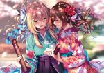 2girls blonde_hair blue_flower blurry blurry_background blush cherry_blossoms depth_of_field flower hair_between_eyes hair_flower hair_ornament hakama hakama_skirt highres holding holding_hands japanese_clothes kimono long_sleeves looking_at_another multiple_girls open_mouth original piromizu purple_hakama red_flower sad_smile skirt smile stitched tears