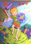 1boy bandaid bandaid_on_knee barefoot child closed_eyes commentary game_boy handheld_game_console heart lying male_focus noeyebrow_(mauve) on_back oni open_mouth orange_hair original shield short_hair shorts sleeping solo stuffed_toy sun sword toy weapon