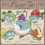 character_name closed_eyes commentary_request cup dated evolutionary_line flower food fruit grapes heart highres lemon lemon_slice liquid no_humans petyo pokemon pokemon_(creature) polteageist red_flower sinistea smile sugar_cube teacup teapot