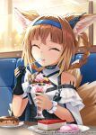 1girl :t ^_^ absurdres animal_ears arknights bangs belt bench black_gloves blunt_bangs braid bulletproof_vest candy chocolate chocolate_bar closed_eyes commentary_request cup doughnut eating eyebrows_visible_through_hair food fox_ears fox_girl fox_tail fruit gloves hair_between_eyes hairband highres holding holding_cup holding_spoon ice_cream kyuubi light_brown_hair long_hair looking_at_viewer multiple_tails parfait plate pocket ryo-suzuki scrunchie shortcake sidelocks single_glove smile solo spoon strawberry suzuran_(arknights) table tail twin_braids utensil_in_mouth wrist_scrunchie