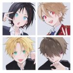4boys bangs black_hair blonde_hair blood blue_eyes bruise bruise_on_face ear_piercing earrings green_eyes hair_over_one_eye highres injury jewelry looking_at_viewer male_focus multicolored_hair multiple_boys open_mouth original parted_lips piercing pillow_(nutsfool) portrait red_eyes redhead school_uniform simple_background streaked_hair thumbs_down tongue tongue_out v