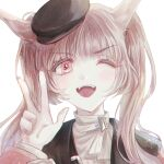1girl animal_ears arm_up bangs blinking blunt_bangs brown_eyes brown_hair cat_ears eyebrows_visible_through_hair fangs frills hat long_hair long_sleeves looking_at_viewer one_eye_closed open_mouth original san_spring sidelocks solo sparkle twintails upper_body v white_background