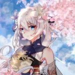 1girl 97552153 bangs bare_shoulders blue_eyes blue_flower blue_sky cherry_blossoms china_dress chinese_clothes closed_mouth clouds dress earrings flower hair_between_eyes hair_flower hair_ornament hand_fan highres holding holding_fan honkai_(series) honkai_impact_3rd jewelry long_hair looking_at_viewer outdoors petals sky sleeveless solo theresa_apocalypse theresa_apocalypse_(starlit_astrologos) white_flower white_hair zhuge_kongming_(honkai_impact)