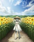 1girl :d ^_^ bandaged_leg bandages bare_shoulders barefoot blue_sky bow braid closed_eyes clouds cloudy_sky colored_skin dress eyebrows_visible_through_hair field flower flower_field grey_hair grey_skin hat highres hill holding holding_clothes holding_hat indie_virtual_youtuber noruka-soruka open_mouth piercing sharp_teeth sky smile solo straw_hat sun_hat sunflower sunlight teeth tentacles tongue_piercing twin_braids virtual_youtuber white_bow white_dress zombie zonbko