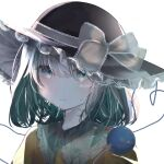 1girl amedama_ameme aqua_eyes artist_name bangs blush bow closed_mouth commentary_request eyebrows_behind_hair frilled_shirt_collar frills green_hair hair_between_eyes hat hat_bow heart heart_of_string highres komeiji_koishi lace_trim light_smile looking_at_viewer medium_hair see-through shirt simple_background solo third_eye touhou upper_body white_background yellow_shirt
