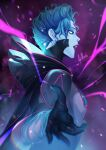 1girl apex_legends artist_name black_capelet black_gloves blue_hair blue_sclera blue_skin bodysuit breasts capelet colored_sclera colored_skin facial_mark forehead_mark from_side gloves hair_behind_ear highres hood hooded_capelet looking_at_viewer neon_spectre_wraith nose_piercing noush open_motuh open_mouth piercing purple_bodysuit purple_lips small_breasts solo white_eyes wraith_(apex_legends)