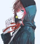 1boy amemura_ramuda blue_coat blue_eyes candy coat ebanoniwa food grey_background hair_over_one_eye hand_up holding holding_candy holding_food holding_lollipop hood hood_up hypnosis_mic lollipop looking_at_viewer male_focus neck_ribbon one_eye_covered parted_lips red_neckwear red_ribbon redhead ribbon shirt simple_background solo upper_body white_shirt