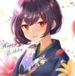 1girl absurdres bangs blue_kimono blush commentary_request eyebrows_visible_through_hair eyes_visible_through_hair floral_print flower happy_birthday highres idolmaster idolmaster_shiny_colors japanese_clothes kimono looking_at_viewer morino_rinze open_mouth petals print_kimono purple_hair red_eyes red_flower short_hair sky_cappuccino smile solo upper_body white_background yellow_flower
