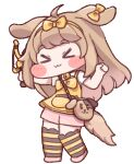 >_< 1girl :3 ahoge animal_ears animated animated_gif bangs bell blush blush_stickers bow butter_(trickcal) chibi dancing diyap dog_ears dog_girl dog_tail eyebrows_visible_through_hair full_body hairband light_brown_hair long_hair neck_bell official_art open_mouth shorts slingshot smile solo striped striped_legwear tachi-e tail tail_wagging thigh-highs transparent_background trickcal