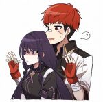 1boy 1girl :d :t =3 ? bandaged_arm bandages bandaid bandaid_on_nose black_shirt black_survival braid breasts fingerless_gloves frown gloves hyejin_(black_survival) hyunwoo_(black_survival) jacket lix long_hair low_twintails pout purple_hair red_eyes red_gloves redhead shaded_face shirt short_hair small_breasts smile spoken_question_mark twintails violet_eyes white_jacket