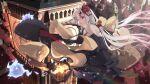 1girl absurdres bag ben_yuan_yang black_dress blurry blurry_background clock clock_tower dress flying halloween highres hololive karma_(nakiri_ayame) lantern looking_at_viewer nakiri_ayame original scroll shiranui_(nakiri_ayame) tower virtual_youtuber witch