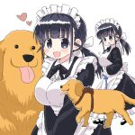 1girl :d animal black_eyes black_hair blush breasts commentary dog eyebrows_visible_through_hair heart highres large_breasts leash maid naitou_kouse original smile tongue tongue_out twintails white_background