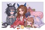 4girls ahoge alarm_clock animal_ears ball bangs bed black_hair blue_eyes book border bottle brown_hair character_request check_character clipboard clock commentary_request drooling eishin_flash_(umamusume) holding holding_clipboard horse_ears horse_girl horse_tail king_halo_(umamusume) kyuurisoda long_hair looking_at_viewer medium_hair mouth_drool multiple_girls open_mouth outside_border pajamas raised_eyebrows shoes sitting sleeping sparkle sweep_tosho_(umamusume) tail track_suit umamusume under_covers violet_eyes white_border