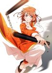 1girl absurdres asymmetrical_clothes blush bun_cover chain chinese_clothes double_bun fighting_stance highres kougi_hiroshi leg_up looking_at_viewer love_live! love_live!_sunshine!! nunchaku orange_hair red_eyes short_hair simple_background solo swinging takami_chika traditional_clothes weapon white_background