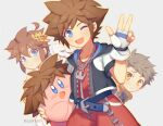 blue_eyes brown_hair copy_ability fingerless_gloves gloves hair_ornament jewelry keyblade kid_icarus kid_icarus_uprising kingdom_hearts kirby kirby_(series) looking_at_viewer male_focus multiple_boys necklace open_mouth pit_(kid_icarus) rex_(xenoblade) short_hair smile sora_(kingdom_hearts) spiky_hair super_smash_bros. wusagi2 xenoblade_chronicles_(series) xenoblade_chronicles_2