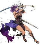 1girl armor bangs bare_shoulders belt breasts clenched_hand clenched_teeth cozy dark_skin dress elbow_gloves eyepatch fire_emblem fire_emblem:_mystery_of_the_emblem fire_emblem_heroes full_body gloves gold_trim highres holding holding_sword holding_weapon large_breasts long_hair looking_away malice_(fire_emblem) muscular muscular_female official_art parted_lips purple_hair red_eyes sheath shiny shiny_hair shiny_skin shoulder_armor solo strapless strapless_dress sword tan teeth toeless_footwear toes torn_clothes transparent_background weapon