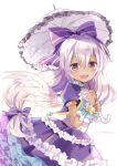 1girl :d blush bow dark_skin dress frilled_dress frills hair_bow holding holding_umbrella itadaki31 light_purple_hair long_hair looking_at_viewer mireille_lerner parasol purple_bow purple_dress red_eyes shironeko_project short_sleeves simple_background smile solo twitter_username umbrella white_background white_wings wings
