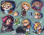 1boy 1girl ? absurdres animification apex_legends apron black_eyepatch black_hair black_jacket blue_sweater bodysuit brown_apron character_name chibi clip_studio_paint_(medium) clouds crypto_(apex_legends) cyber_punked_wattson electricity english_commentary eyepatch flower green_background highres hood hooded_jacket horns jacket kneeling looking_back loot_tick mechanical_arms nessie_(respawn) one_eye_covered open_mouth orange_jacket pants petting pink_hair pout scar scar_on_cheek scar_on_face scared short_hair single_mechanical_arm sleeping smile stuffed_toy sweater wattson_(apex_legends) white_bodysuit white_pants wiki_(juicykiwi)