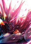absurdres black_cape cape glowing glowing_eyes highres looking_down mecha no_humans pink_eyes portrait science_fiction solo super_robot super_robot_wars super_robot_wars_original_generation takamaru_(taka1220) vaisaga
