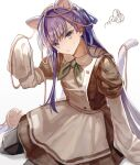 1girl animal_ears apron blue_eyes cat_ears dress fate/grand_order fate_(series) hair_ribbon highres long_hair meltryllis_(fate) pout purple_hair ribbon sleeves_past_fingers sleeves_past_wrists squiggle unacha waitress white_background yarn yarn_ball