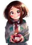 1girl blush boku_no_hero_academia brown_hair candy chocolate food happy_valentine heart heart-shaped_chocolate highres looking_at_viewer mikipi necktie school_uniform simple_background smile solo twitter_username valentine white_background