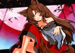 1girl animal_ear_fluff animal_ears bamboo bare_shoulders brown_hair brown_tail collarbone commentary_request eyebrows_visible_through_hair fang feet_out_of_frame fingernails hair_between_eyes imaizumi_kagerou long_hair long_sleeves looking_at_viewer moon off_shoulder open_mouth orange_eyes outstretched_hand qqqrinkappp red_brooch red_moon red_nails sharp_fingernails skin_fang solo tail touhou traditional_media wide_sleeves wolf_ears wolf_tail