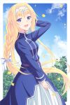 1girl :d alice_zuberg arm_behind_head bangs blonde_hair blue_dress blue_eyes blue_sky braid breasts clouds day dress e20 eyebrows_visible_through_hair ginkgo_leaf hair_between_eyes hair_intakes hand_up headpiece long_hair looking_at_viewer looking_to_the_side open_mouth single_braid sky small_breasts smile solo sword_art_online sword_art_online:_alicization very_long_hair