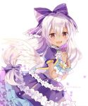 1girl :d blush bow dark_skin dress flower frilled_dress frills hair_bow holding holding_flower itadaki31 light_purple_hair long_hair looking_at_viewer mireille_lerner purple_bow purple_dress red_eyes shironeko_project short_sleeves simple_background smile solo twitter_username white_background white_wings wings