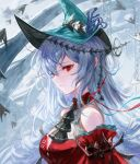 1girl abstract_background aqua_headwear arknights ascot bare_shoulders black_neckwear collar detached_collar dress from_side hat highres long_hair long_sleeves official_alternate_costume parted_lips red_collar red_dress red_eyes silver_hair skadi_(arknights) skadi_the_corrupting_heart_(arknights) solo spacelongcat upper_body white_background