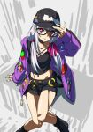 1girl black_camisole black_legwear camisole choker closed_mouth collarbone fate/grand_order fate_(series) glasses hair_ribbon hat heroic_spirit_tour_outfit highres hood hooded_jacket jacket kama_(fate) long_hair looking_at_viewer midriff navel purple_jacket red_eyes ribbon short_shorts shorts silver_hair simple_background sitting solo thighs yuukami_(wittsu)
