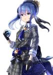 1girl bangs beret black_gloves blue_choker blue_eyes blue_hair blue_neckwear breasts choker collared_shirt commentary_request eyebrows_visible_through_hair frilled_skirt frills gem gloves grey_headwear grey_jacket grey_skirt hair_between_eyes hand_up hat highres holding hololive hoshimachi_suisei jacket long_hair long_sleeves natsuki_(natukituki) parted_lips partially_fingerless_gloves plaid plaid_skirt shirt sidelocks simple_background skirt small_breasts solo star_(symbol) virtual_youtuber white_background white_shirt