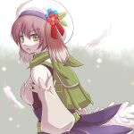 1girl animal_ears backpack bag bangs blue_flower breasts brown_hair commentary_request cowboy_shot detached_sleeves dog_ears eyebrows_visible_through_hair feathers flower green_bag green_eyes green_scarf hair_between_eyes hat hat_flower leaf looking_at_viewer looking_to_the_side manoji medium_breasts official_alternate_costume open_mouth ragnarok_online ranger_(ragnarok_online) red_flower scarf short_hair skirt solo white_headwear white_skirt white_sleeves