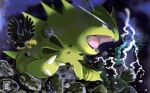 claws commentary_request electricity fangs from_side highres murkrow no_humans open_mouth pink_eyes pokemon pokemon_(creature) prassio rock tongue tyranitar