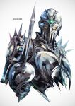 armor artist_name blue_eyes full_armor helmet holding jewelry jojo_no_kimyou_na_bouken k-suwabe knight looking_at_viewer no_humans rapier silver_chariot solo stand_(jojo) sword upper_body weapon white_background