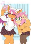 2girls :p alternate_costume alternate_hairstyle amy_rose animal_ears animal_nose aqua_eyes artist_name bare_legs bat_ears bat_girl blush border bow bowtie breasts button_gap buttons commentary_request desk eyeshadow furry furry_female gingham green_eyes gyaru halftone halftone_background hedgehog_ears highres indoors large_breasts leaning_forward locker long_sleeves looking_at_phone makeup mascara michiyoshi multiple_girls necktie no_bra one_eye_closed outside_border pantyhose phone pink_eyeshadow pink_hair plaid plaid_skirt pleated_skirt polka_dot red_bow red_neckwear rouge_the_bat school_desk school_uniform selfie shirt short_hair signature skirt smile sonic_(series) sonic_adventure_2 sonic_cd standing tied_hair tongue tongue_out unmoving_pattern v white_border white_hair white_shirt