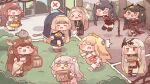 >_< 6+girls =_= ^^^ amelia_(trickcal) animal_ears antlers bellita_(trickcal) blonde_hair blue_hair brown_hair cat_ears cat_girl cat_tail chasing chibi dark_green_hair deer_ears deer_girl diana_(trickcal) diyap elena_(trickcal) elpin_(trickcal) eyebrows_visible_through_hair food freckle_(trickcal) full_body green_eyes heterochromia highres komi_(trickcal) multiple_girls nell_(trickcal) official_art pie red_eyes running spoken_x tail trickcal yellow_eyes