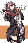 1girl absurdres bangs black_coat blue_eyes bubble_tea bubble_tea_challenge coat cup dinoyhs disposable_cup dress eyebrows_visible_through_hair girls_frontline gloves highres long_hair long_sleeves mod3_(girls'_frontline) object_on_breast object_on_pectorals one_side_up pink_hair pleated_dress red_dress red_gloves single_thighhigh solo st_ar-15_(girls'_frontline) thigh-highs